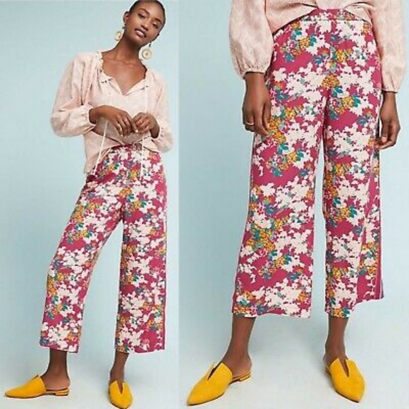Anthropologie Pants - ANTHRO ETT TWA rose floral wide leg pants